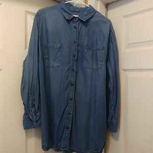 Plus size denim tunic shirt